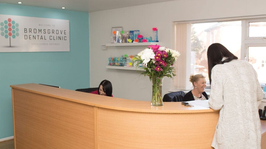 Bromsgrove dental reception with patient